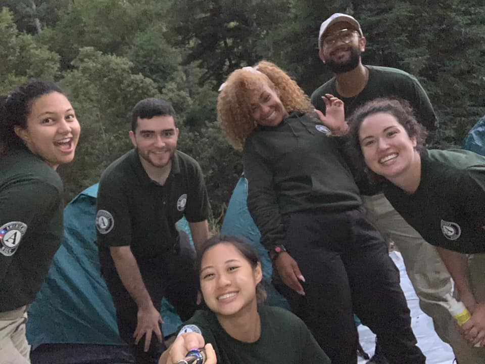 A previous NCCC Americorps team working on fuel hazard reduction in Camp Meeker. Photo courtesy of St. Dorothy's Rest.