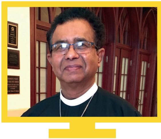 Rev. Bertram Nagarajah on computer screen